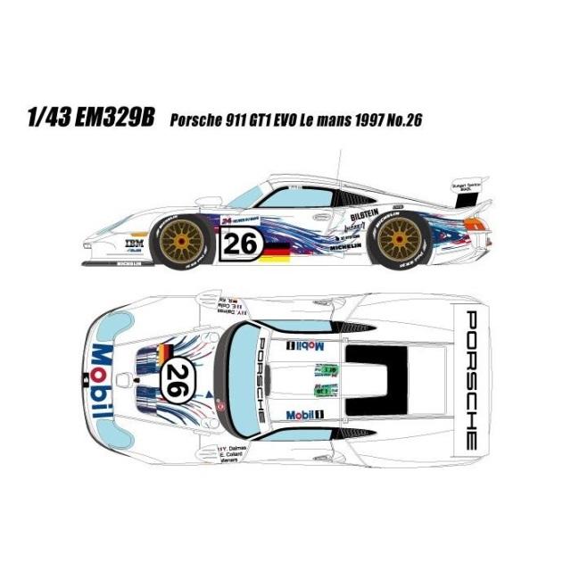 【5月予約】アイドロン 1/43 ポルシェ 911 GT1 EVO No.26 1997 ル・マン24時間 完成品ミニカー EM329B
