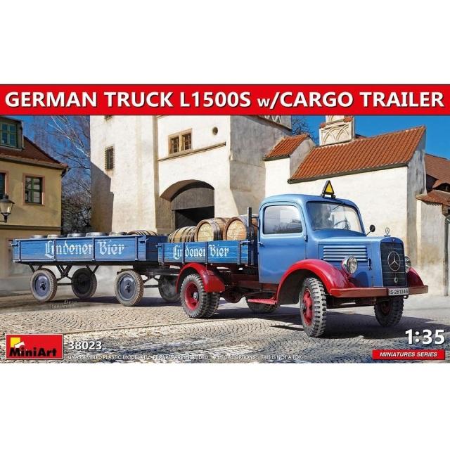 ミニアート 1/35 ドイツトラックL1500S カーゴトレイラー付 スケールモデル MA38023