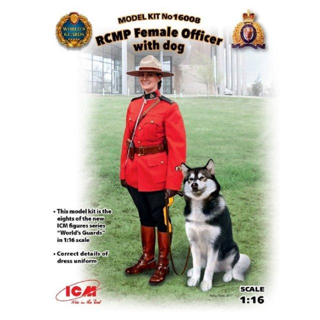 ICM 1/16 王立カナダ女性騎馬警察 w/警察犬 スケールプラモデル 16008