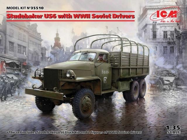 ICM 1/35 スチュードベイカー US-6カーゴトラック w/ソビエト ドライバー スケールモデル 35510
