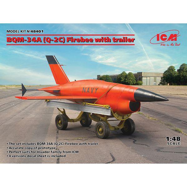 【6月予約】ICM 1/48 BOM-34A(Q-2C) ファイアビー w/トレーラー スケールモデル 48401