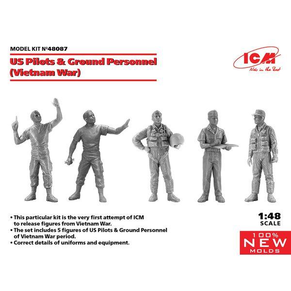 【6月予約】ICM 1/48 USパイロット & グランドクルーセット(ベトナム戦争) スケールモデル 48087