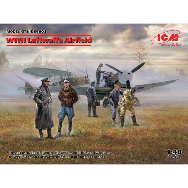 【2月予約】ICM 1/48 WWII ドイツ空軍飛行場 情景セット スケールモデル DS4801
