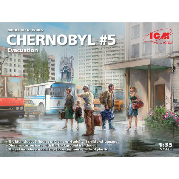 【6月予約】ICM 1/35 チェルノブイリ#5 避難住民セット スケールモデル 35905