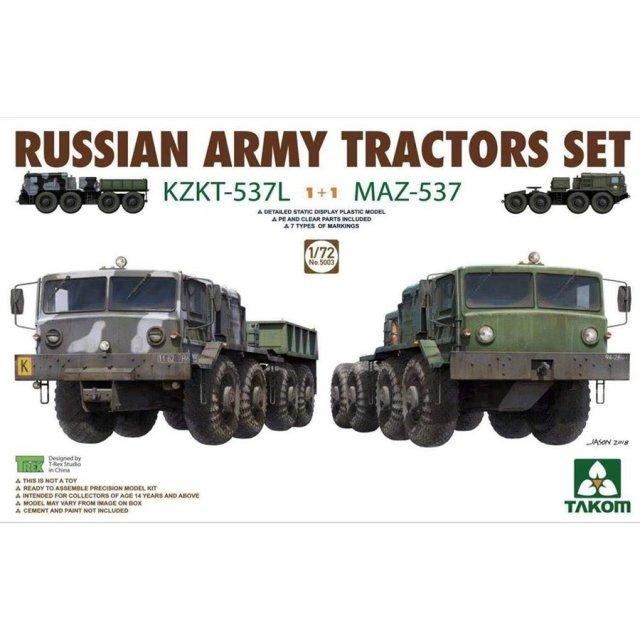 タコム 1/72 ロシア陸軍 KZKT-537L & MAZ-537トラクターセット スケールプラモデル TKO5003