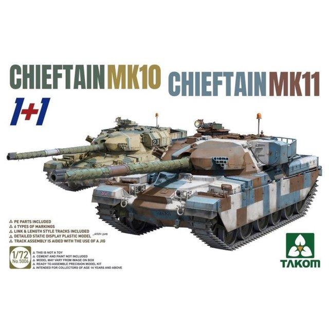 タコム 1/72 イギリス主力戦車 チーフテン Mk.10/Mk.11 (2キット入) スケールモデル TKO5006
