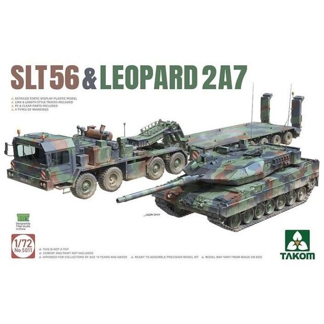 タコム 1/72 SLT56 戦車運搬車 & レオパルト2A7 スケールモデル TKO5011