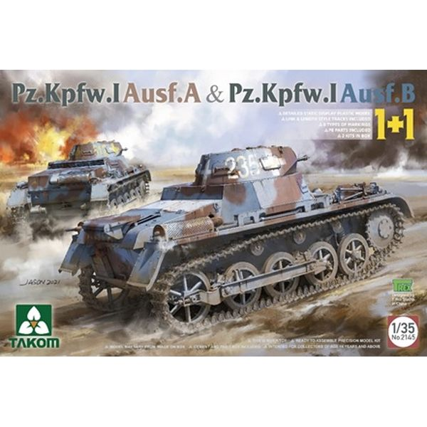 【6月予約】タコム 1/35 I号戦車A型 & B型 2キットセット スケールモデル TKO2145