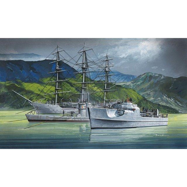 アオシマ 1/350 クリスチャンラディック& Sボート&Uボート スケールプラモデル アイアンクラッド(鋼鉄艦)