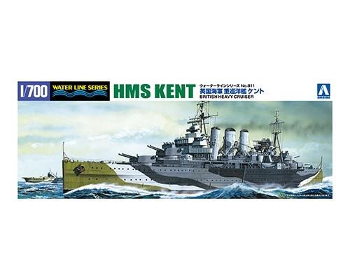 アオシマ 1/700 ウォーターライン No.811 英国海軍 重巡洋艦ケント スケールモデル 4905083056738
