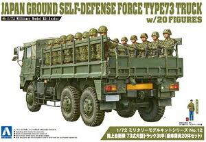 プラモデル AOSHIMA アオシマ 1/72 ミリタリーモデル12 陸自 73式大型トラック3t半