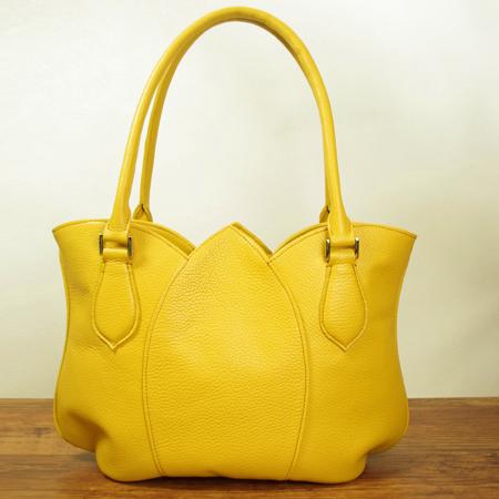 革鞄:ハンドバッグ:チューリップ、革製品:可愛い