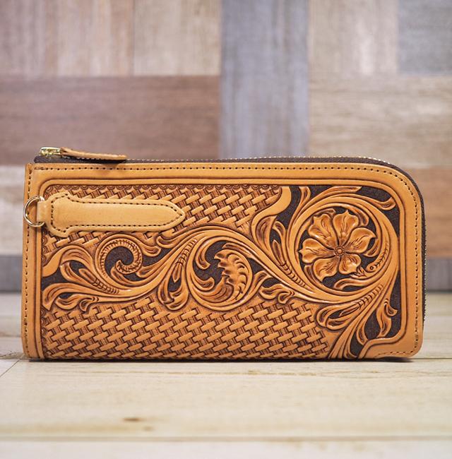 Lファスナー:カービング:長財布:手作り革製品