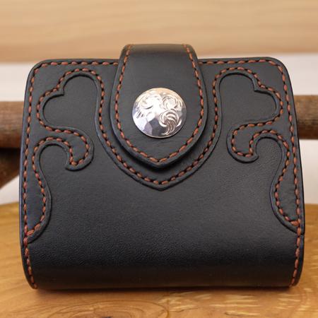 ハートの可愛いレディース革財布:ハンドメイドウォレット