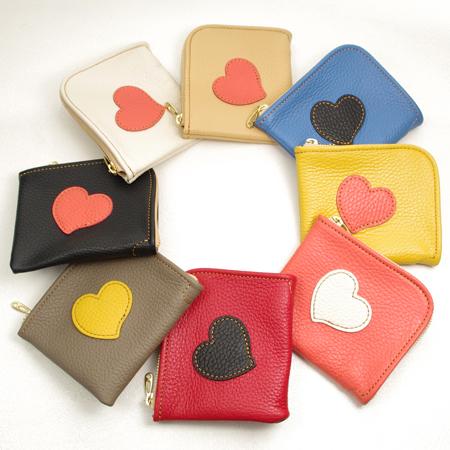 L字ファスナーミニ財布:ハート:小さい財布