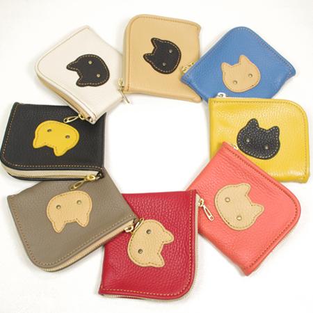 猫:L字ファスナー可愛いミニ財布:ネコ:革小物