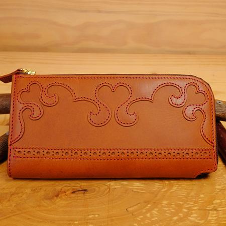 L字ファスナー可愛いハートの長財布:革財布