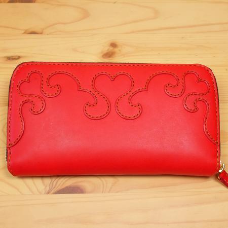 手作りの可愛いハートの長財布・革財布