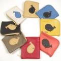 可愛いクジラ(鯨)の革財布:ハンドメイド革小物