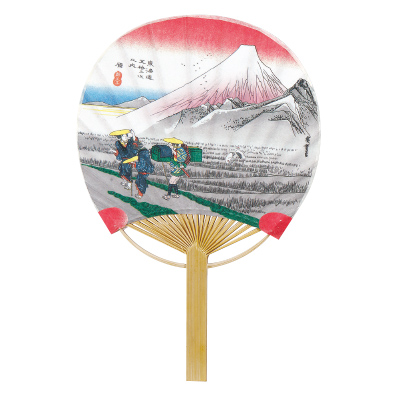F6713 東海道五十三次(原)(ミニ竹うちわ)/25本入 竹製うちわ