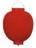 Z2101 10号丸洋紙提灯 赤・赤枠27×41cm【ちょうちん】