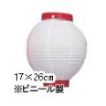 Tb206-9(Tb63) 6号丸型提灯 白・赤枠17×26cmビニール 【ちょうちん】