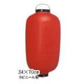 新K 12号長型提灯 赤・黒枠34×70cmビニール【ちょうちん】