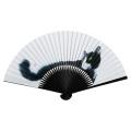 F5651 イラスト猫扇子(画:村上ゆたか) 7.5寸35間 約22.5cm Hachiware(ハチワレ) 専用一本箱付【メール便可】