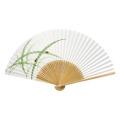 F5701 白竹中彫 笹にホタル【紳士用扇子】