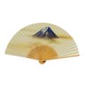 F5702 白竹中彫り 富士【紳士用扇子】