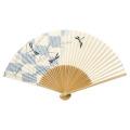 F5705 白竹中彫  トンボ(市松模様)【紳士用扇子】