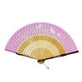 F5809 親茶塗 白竹 うざぎ(ピンク)【布貼ファッション扇子】
