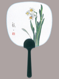 F79 水仙 暑中豆うちわ(香料入り)/25本入 中型・豆うちわ