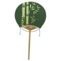 小満月柄長竹うちわ「彫 竹に雀」 15本セット | F8019 団扇 丸竹うちわ