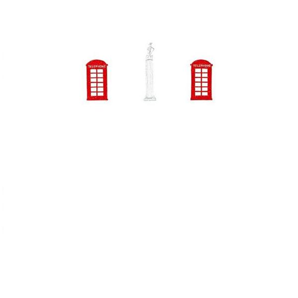 メッセージカード 電話ボックスと像 A6 シングル