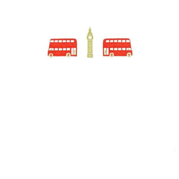 メッセージカード バスと時計台 A6 シングル