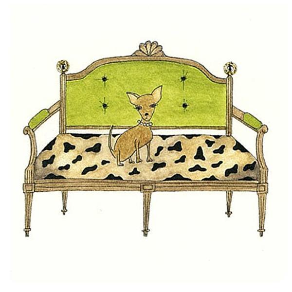 二つ折りカード ソファーと犬