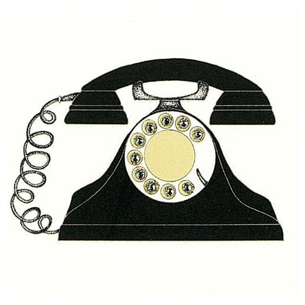 二つ折りカード 黒電話
