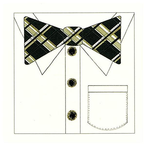 二つ折りカード 蝶ネクタイ(チェック)
