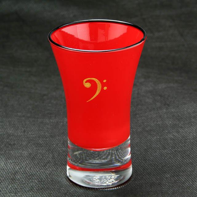 会津塗 ガラス漆器 清酒杯 へ音記号 バス記号 音楽雑貨 音楽グッズ 音楽ギフト 音楽小物