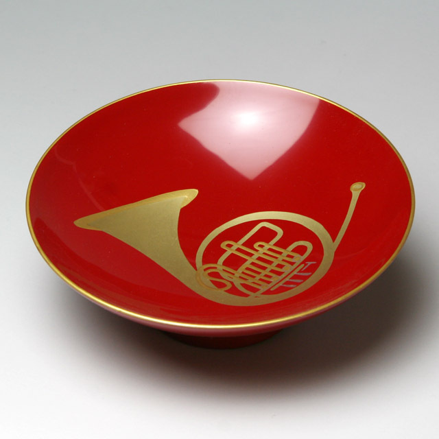 会津塗 木製朱盃 酒杯 フレンチホルン 音楽雑貨 音楽グッズ 音楽ギフト 音楽小物