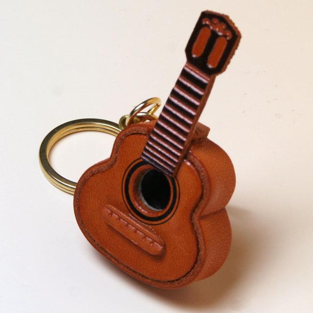 クラシックギター 本革製 キーホルダー 音楽雑貨 音楽グッズ 音楽ギフト 楽器グッズ