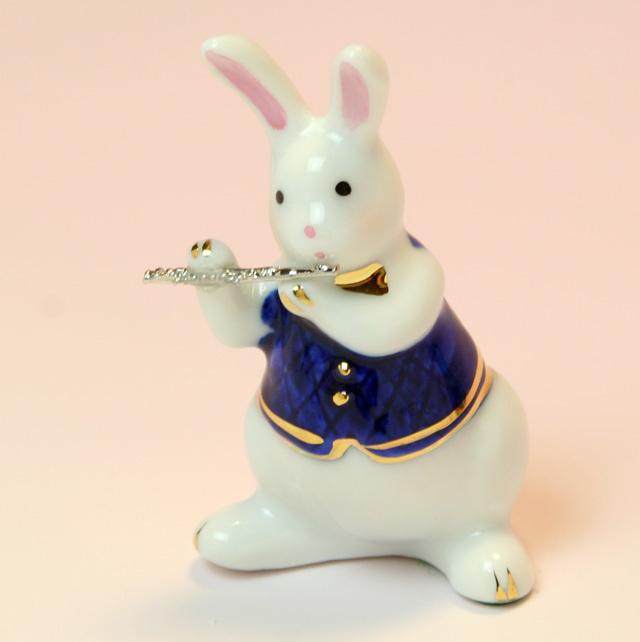 音楽雑貨 磁器 フィギュア ドリーズラビット Dolly's rabbit フルート うさぎ