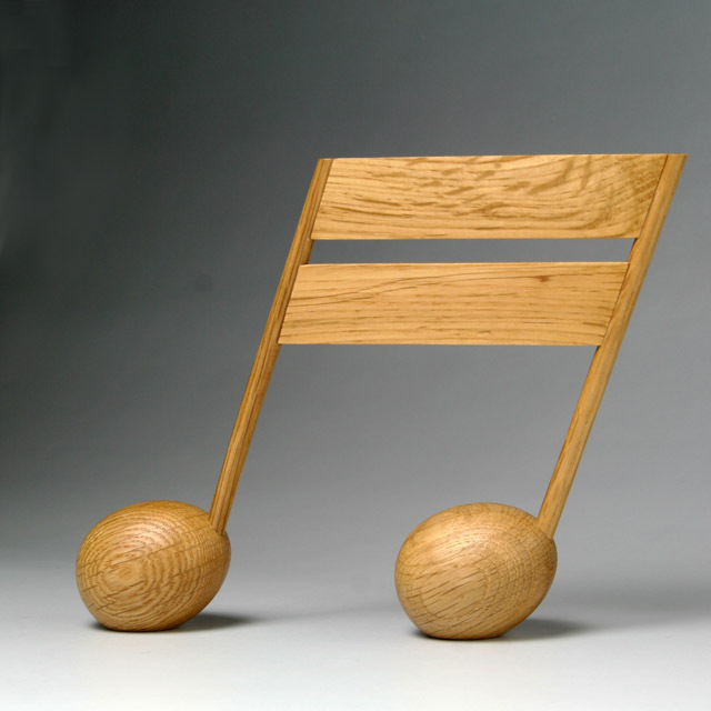 音楽雑貨 銘木 ペーパーウェイト 2連16分音符 ナラ 音楽グッズ 音楽小物 音楽ギフト