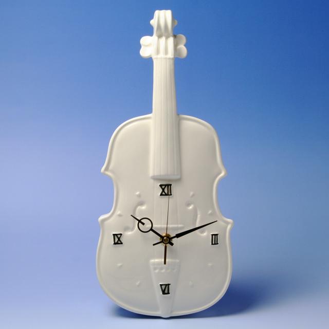 陶器製掛時計 ヴァイオリン 弦楽器 音楽雑貨 ギフト