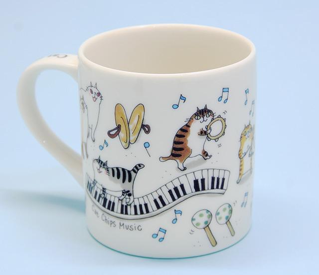 Cat Chips Music マグカップ 鍵盤 ネコ ピアノ