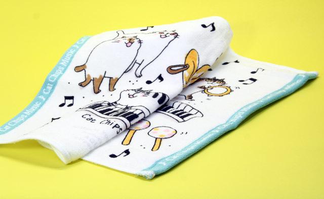 音楽雑貨 タオル ネコ 音符 楽器 鍵盤 Cat Chips Music