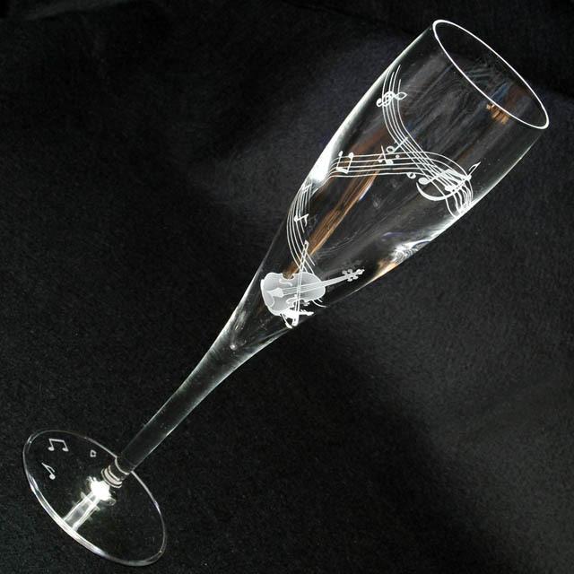 クリスタルグラス シャンパングラス ヴァイオリン 弦楽器 音楽雑貨 音楽ギフト 音楽グッズ