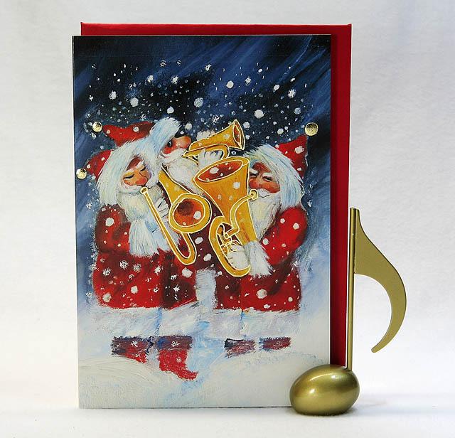 音楽雑貨 文具 クリスマス カード サンタクロース ブラス ギフト 楽器 楽譜 音符
