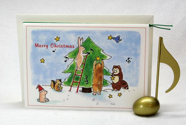 音楽雑貨 クリスマスカード 森の動物たちとツリー 音符